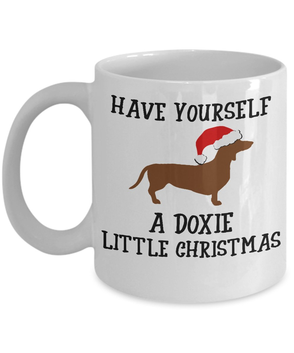 Dachshund Christmas Mug - Novelty Doxie Xmas Coffee Cup For Wiener Dog Lovers - Best Holiday Gift Item Idea For Women and Men Weenie Dog Owners - Novelty Daschund Pet Quote Statement Accessories