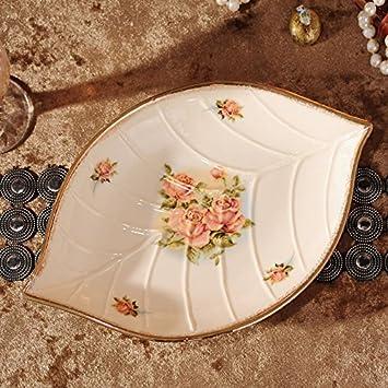 Yuwanw Europäische Keramik Fisch Fach Blattförmige Gerichte Gemüse