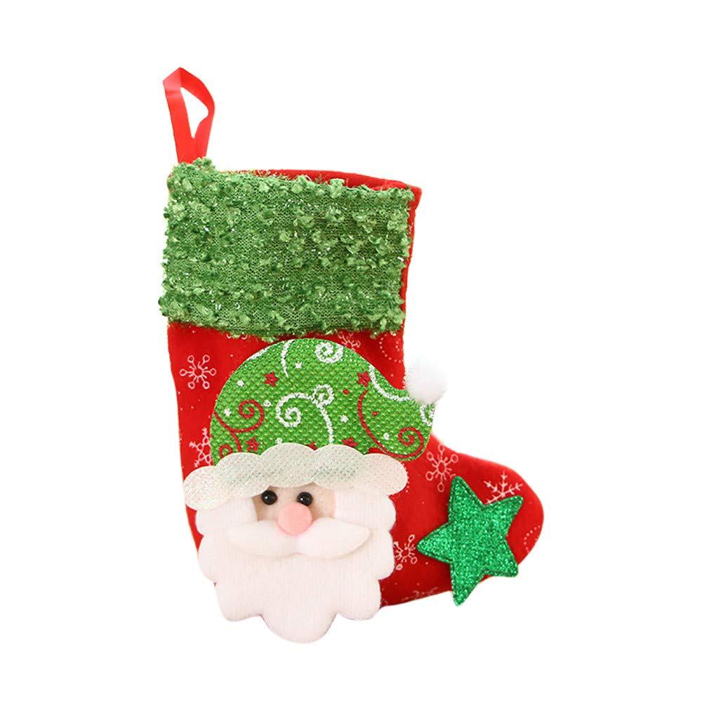 Joopee Christmas Stocking Mini Decor Sock Santa Claus Candy Gift Bag Xmas Tree Hanging Decor(Multicolor C)