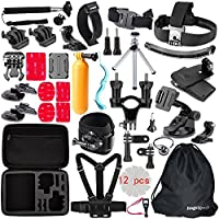 JingXiGuoJi 50 in 1 Basic Outdoor Action Camera Accessories Kit Bundle for GoPro Digital Camera HD Session Hero5 Hero4 Hero3 Hero3+ Hero2 Hero1 Edition Black Silver