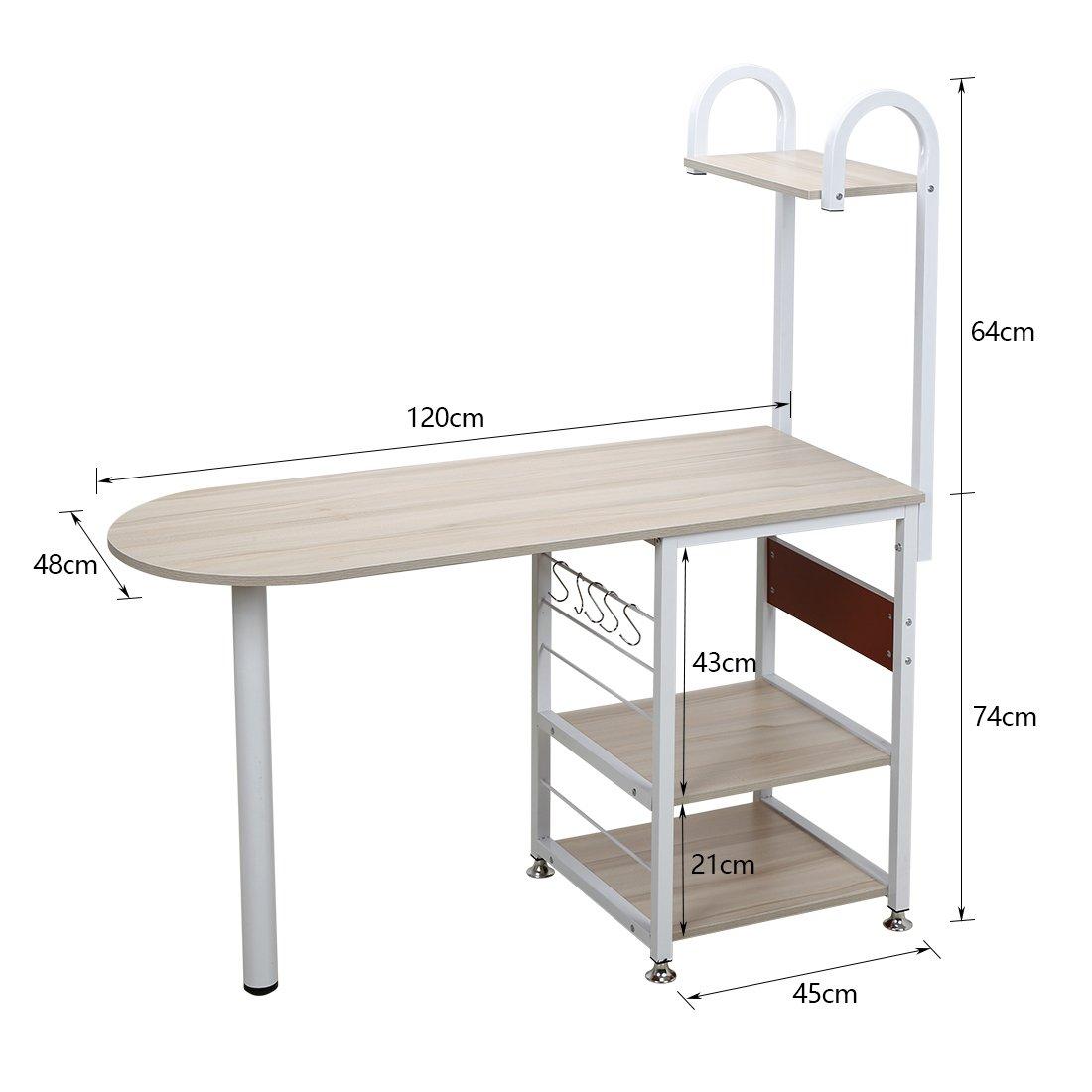 4 Tier Multipurpose Storage Shelf Bakers Rack, Metal Frame and Wooden Worktop for Kitchen by BestValue GO (Image #6)