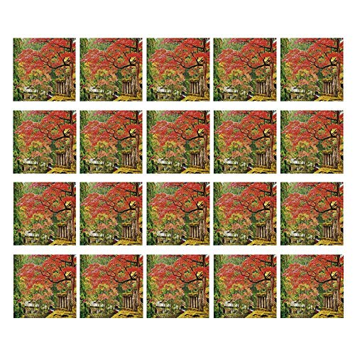 C COABALLA Japanese 3D Ceramic Tile Stickers 20 Pieces,Autumn Scenery with Sakura Tree Cherry Blooms in Nikko Provinence Japan Decorative for Home,3.9