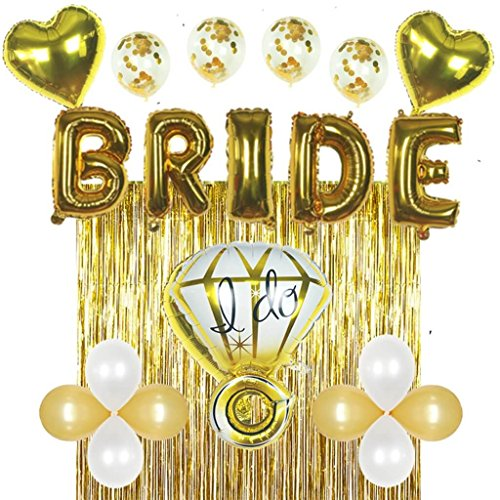 Bridal Shower & Bachelorette Party Decorations kit Gold - Set Includes 1 Fringe Curtain, 1 Set of foil Bride Balloons, 1 Ring Balloon, 2 Heart Balloons, 4 Confetti Balloons, 4 Gold & 4 White Balloons]()