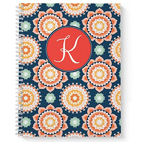 Modern Floral Personalized Notebook/Journal, Laminated Soft Cover, 120 College Ruled pages, lay flat wire-o spiral. Size: 8.5