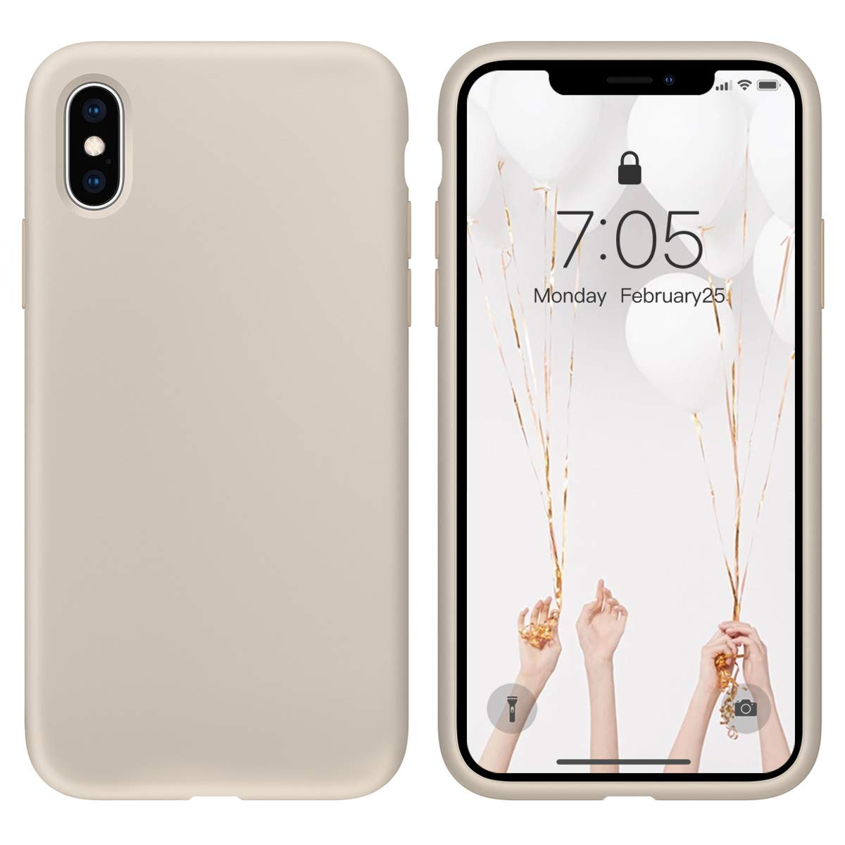 Case for iPhone X/iPhone Xs Liquid Silicone Gel Rubber Phone Case,iPhone X/iPhone Xs 5.8 Inch Full Body Slim Soft Microfiber Lining Protective Case(Stone)