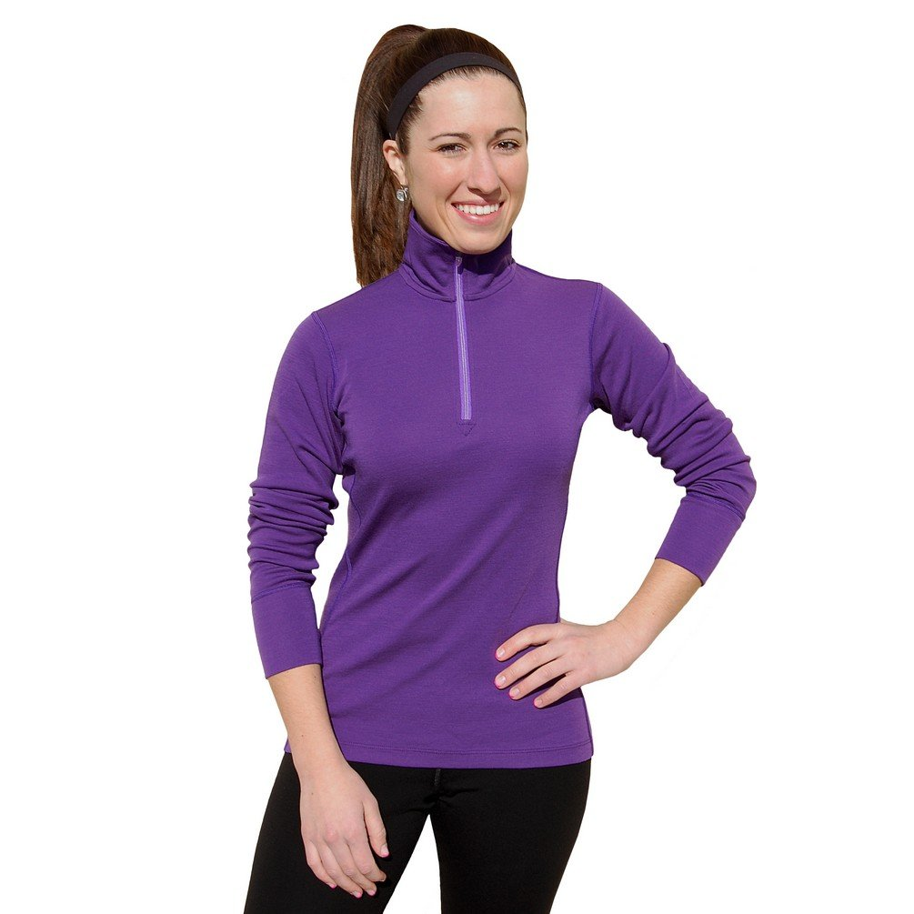 WoolX X557 Womens Brooke 1/4 Zip Top - Deep Orchid - SML by WoolX