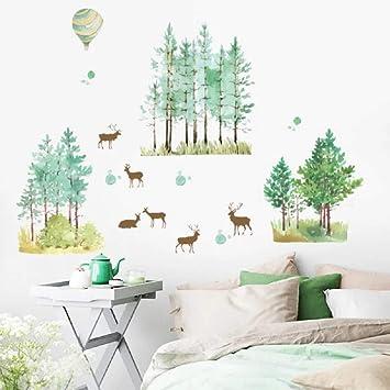 Wandsticker4u Xl Aquarell Wandtattoo Wald Wandbilder 140x100 Cm Wandsticker Baum Reh Handgemalt Pflanze Grün Natur Poster Wandaufkleber Deko