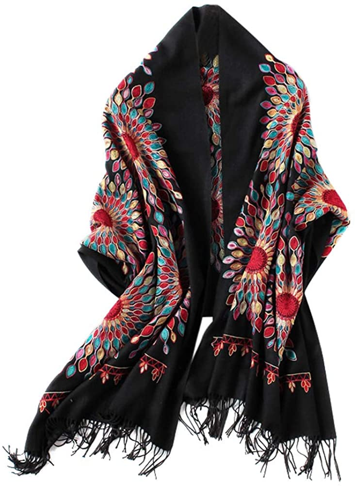Women's Embroidered Oversize Tassel Shawl Scarf