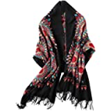 Women's Embroidered Oversize Tassel Shawl Scarf (Black)