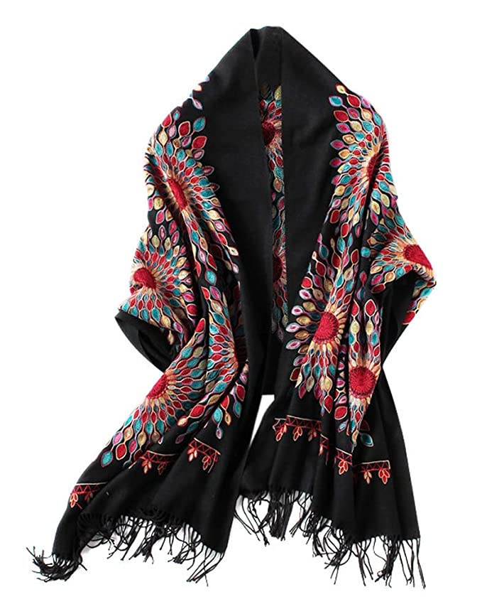 70s Jackets, Furs, Vests, Ponchos Womens Embroidered Oversize Tassel Shawl Scarf $15.98 AT vintagedancer.com