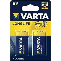 Varta Longlife 9V Block batterij 6LR61 (verpakking met 2 stuks) Alkaline E-Block Batterijenideaal voor brandmelder…