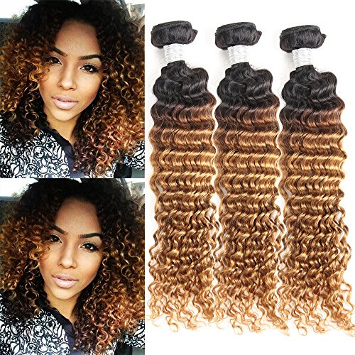 IMAYLI 8A Ombre Brazilian Deep Wave Virgin Hair Weave 3 Bundles Wet and Wavy Brazilian Hair Deep Curly Weave Human Hair Extensions 100% Remy Human Hair Two Tone Color T1B/30(18 18 18)