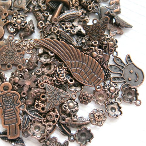 Beading Station 100 Plus Pieces BSI Everything Mix Spacer and Charms, Antique Copper
