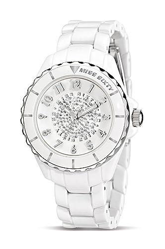 Miss Sixty Glitter SHU002 - Reloj analógico de Cuarzo para Mujer, Correa de Resina Color Blanco: Amazon.es: Relojes