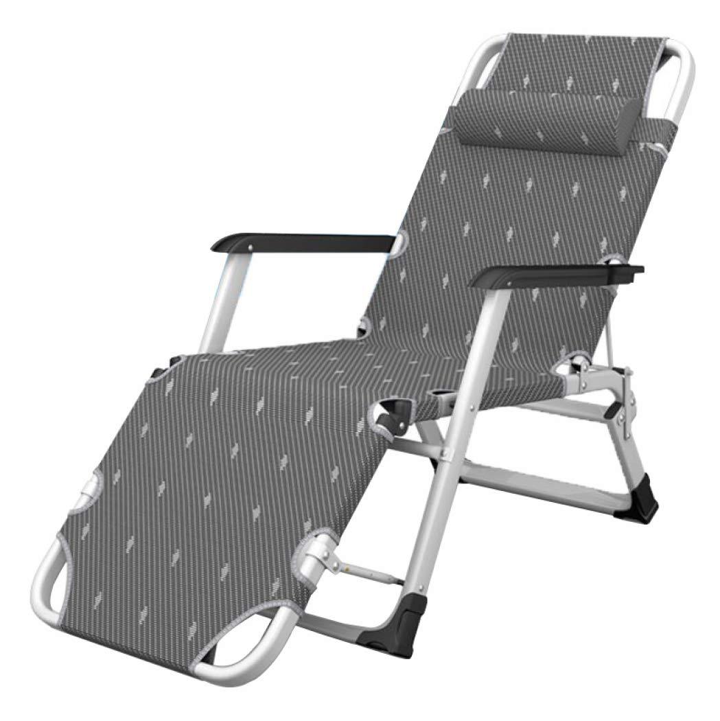 ビーチキャンプ折り畳み式椅子人間工学に基づいたリクライナー、調節可能なヘッドレストサポート付きポータブルシングルリクライナー、オフィスランチブリーフラウンジチェア   B07GB343MS