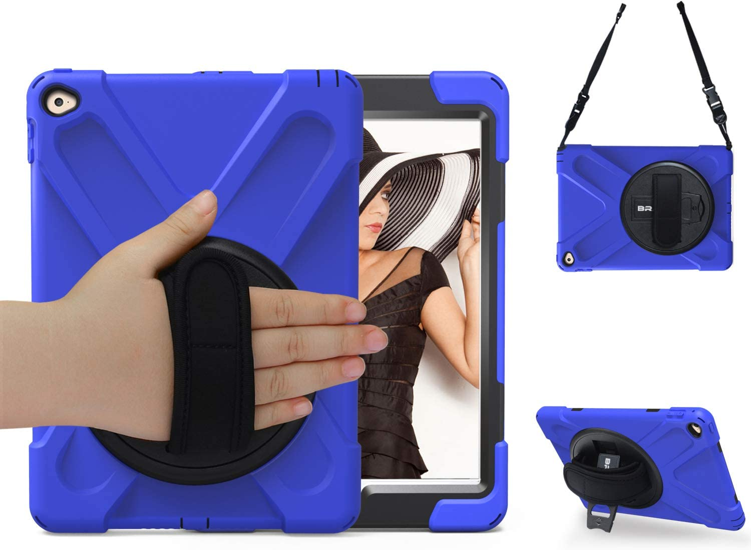 BRAECN case for iPad Air 2 9.7 inch,Three Layer Drop Protection Rugged Protective Heavy Duty IPad Case with 360 Degree Swivel Stand/Hand Strap and Shoulder Strap for iPad Air 2 Kids Case (Blue)