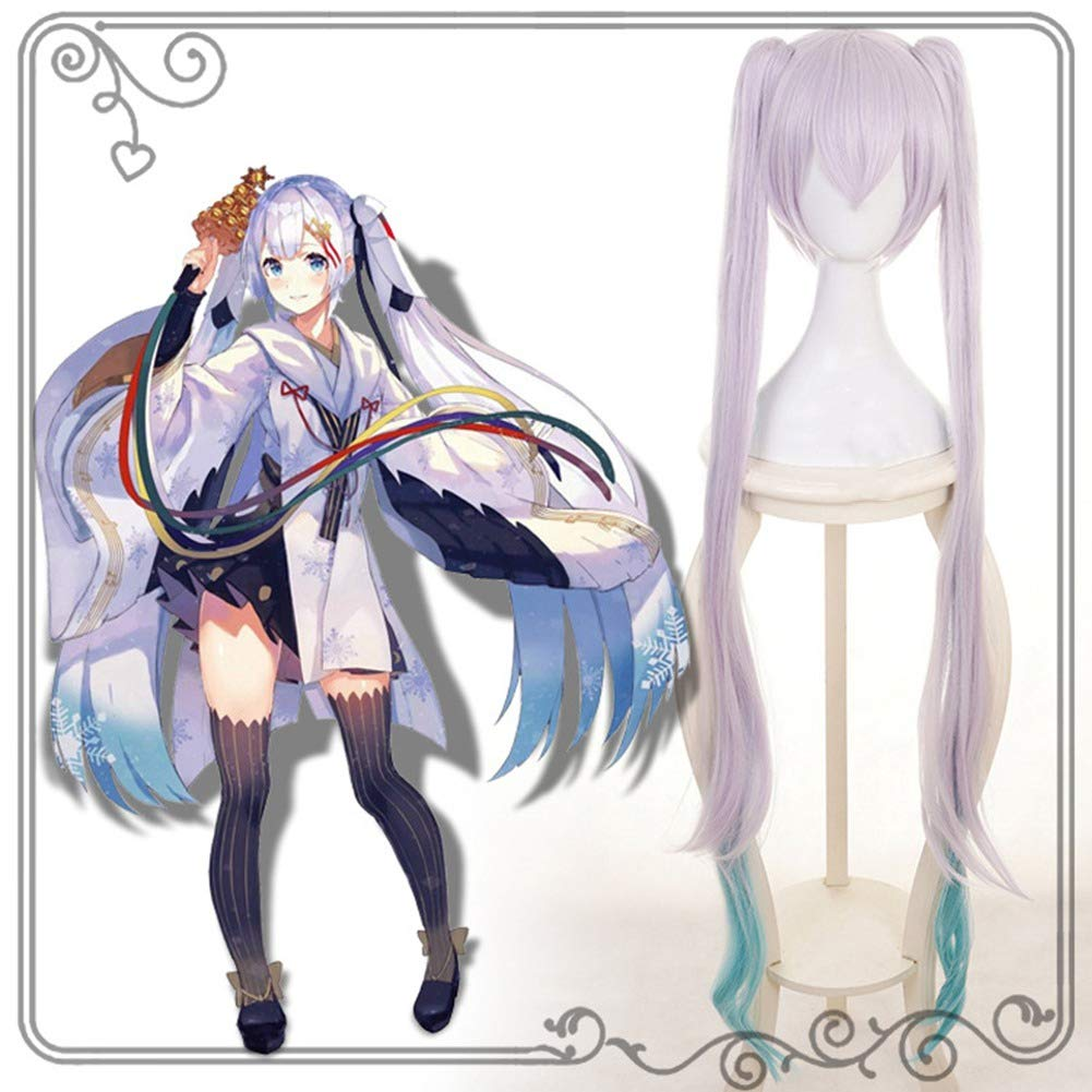 Raleighsee Anime Cosplay Snow Hatsune Miku Wig Silver Grey Long Hair High Temperature Wire Teenage Girl Wig Anime Fans Gift