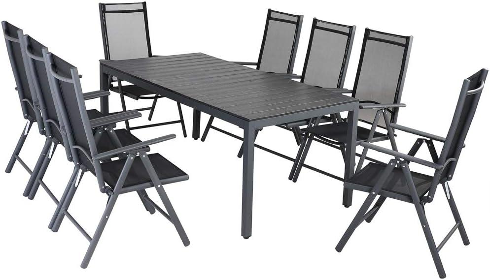 Casaria Conjunto de jardín de Aluminio 1 Mesa con Tablero de Madera y 8 sillas Altas Comedor Exterior 190x90x75cm Muebles
