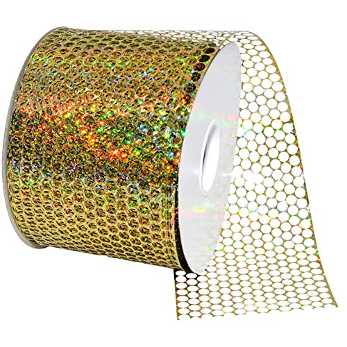 Morex Ribbon 288 Chicago Poly Honeycomb Ribbon, 3.25 inches by 50 Yards, Holographic Gold