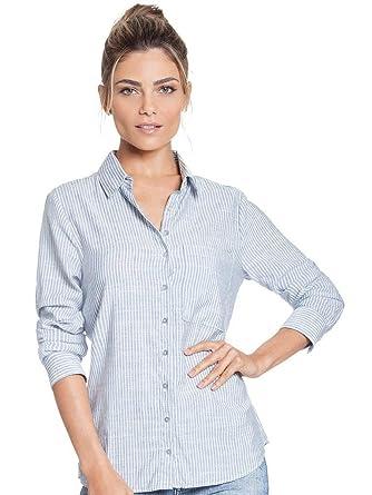4f52c7d9c Camisa Social Feminina Listrada Azul Principessa Lorraine  Amazon ...