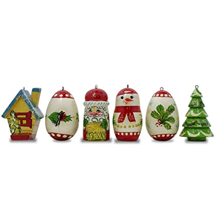 Russia Christmas Ornaments.Amazon Com Bestpysanky Set Of 6 Snowman Bird House