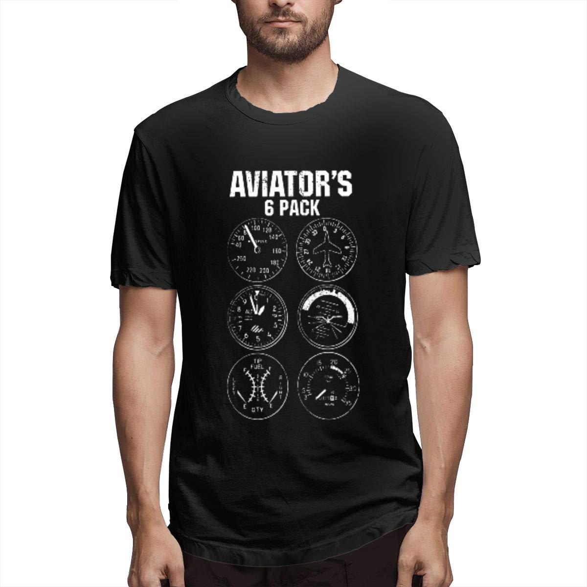 Xuforget Men Aviator Six Pack School Short Sleeve Tee Shirt Cotton Tops