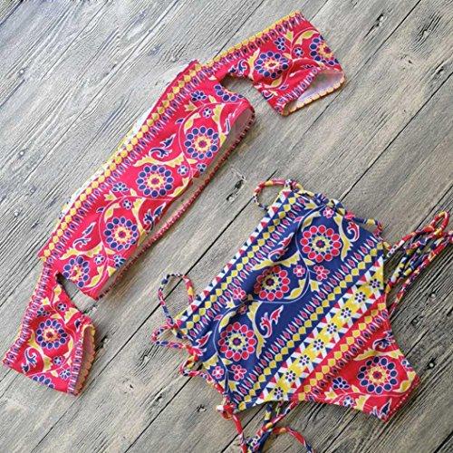 vovotrade De hombro patrón collar de la tribu Bandage Mujer Bikini Set Push-up acolchado traje de baño de sujetador