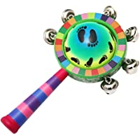 Toyvian Baby Wooden Rattle Colorful Jingle Bells Stick Shaker Kids Children Musical Toys Musical Instrument with Wooden Handle(Random Pattern)