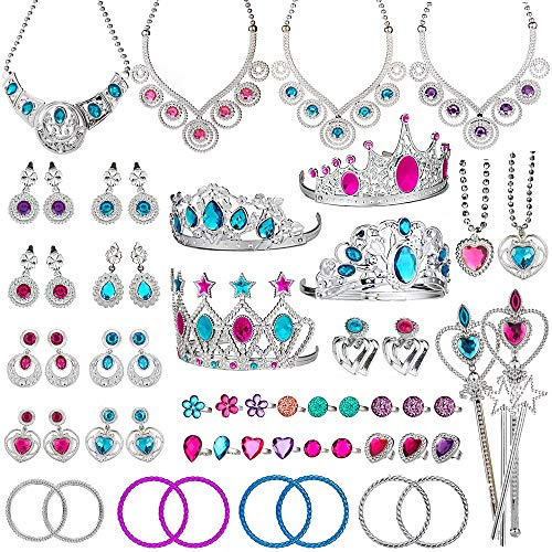 Joinart 60 Pcs Princess Jewelry Toys, Princess Pretend Play Set Girl's Jewelry Toys Crown Wand Necklace Bracelet Rings Earrings Princess Dress up Birthday Party Favors for Girls Party Supplies ()