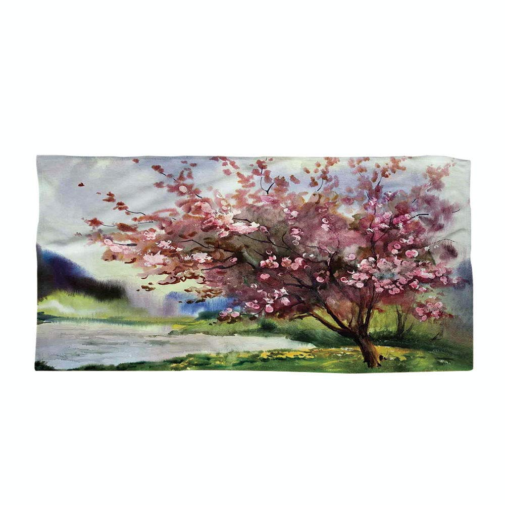 Cotton Microfiber Beach Towel,Country,Painting of Spring Landscape Blooming Nature Flowering Tree and Fresh Grass Nature,Pink Green,for Kids, Teens, and Adults