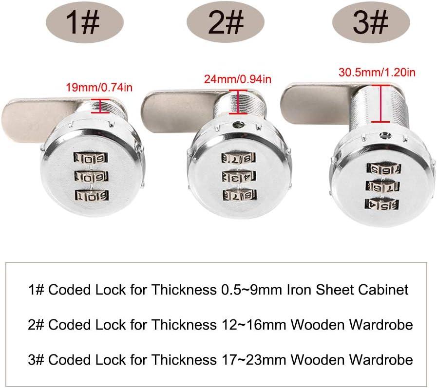 0.5~9mm Iron Sheet Cabinet 3 stellige Code Kombination Cam Lock Silber Zink Legierung Kabinett Sicherheit Password Coded Lock