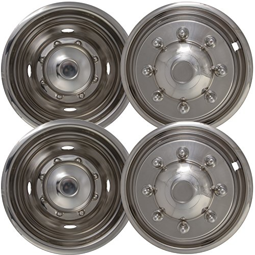 Wheel Simulators for Ford F450 F550 (Pack of 4) 19.5 Inch Snap On, Stainless Steel Hub-Caps by OxGord (Image #1)