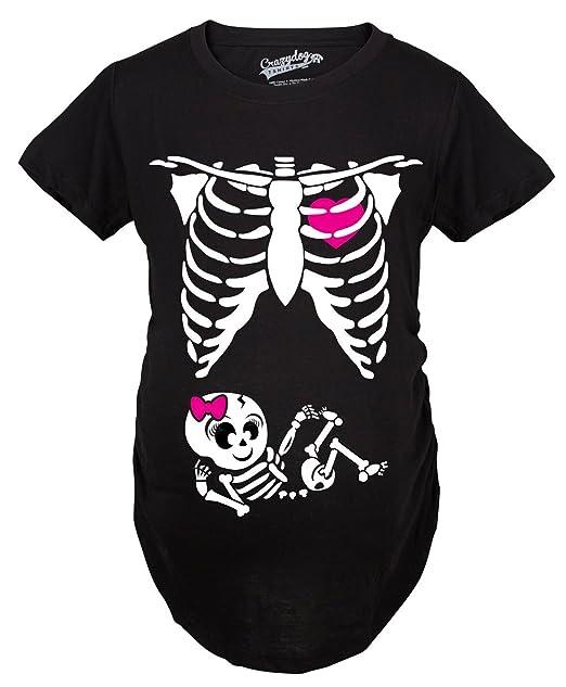 9bf1da57a Crazy Dog T-Shirts Maternity Baby Girl Skeleton Cute Pregnancy Bump ...
