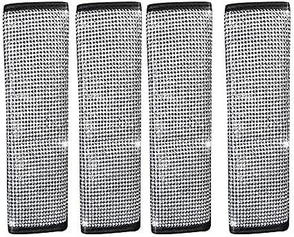 Moligh Doll 4 Packungen Sicherheits Gurt Schulter Polster Glanz Kristall Auto Sicherheits Gurt Abdeckungen Diamant Auto Dekor Zubeh R Für Frauen Auto