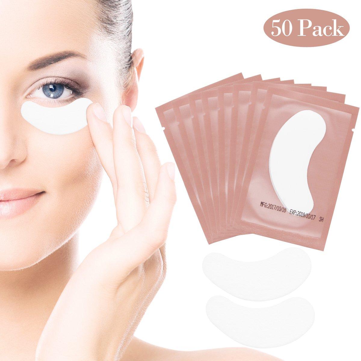 Eye Gel Pads - 50 Pairs of Eyelash Lash Extension Under Eye Gel Pads Lint Eye Patches (Pink) LADES