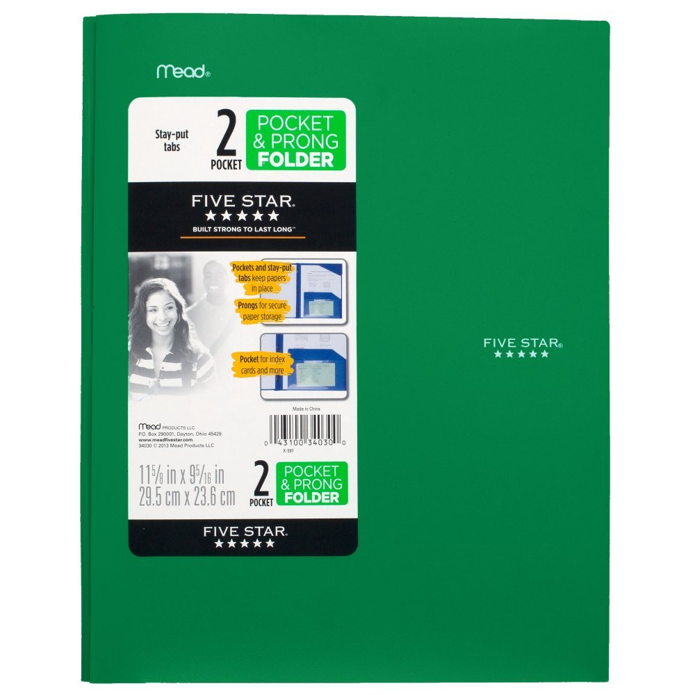 Five Star 2 Pocket Folders with Prong Fasteners, Stay-Put Folder, Folders with Pockets, Assorted Colors, 4 Pack (38064) ACCO Brands