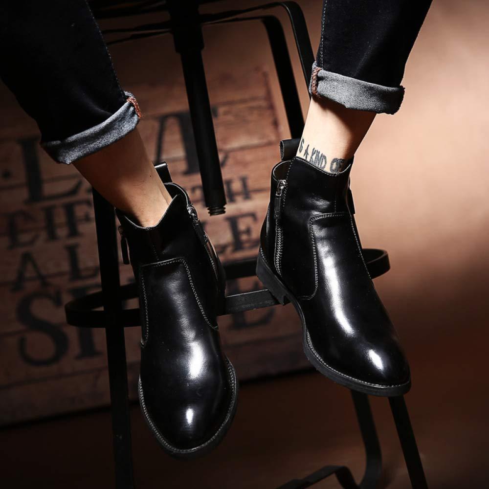 Herren Schwarz Martin Stiefel, Leder, Trend, Trend, Trend, Spitze, Burgund, Vintage, Kleid, Herrenschuhe 7a8750