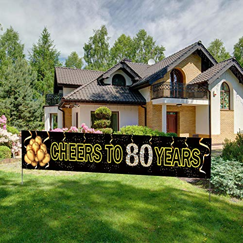 Large Cheers to 80 Years Banner, Black Gold 80 Anniversary Party Sign, 80th Happy Birthday Banner