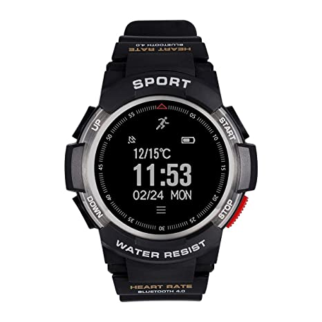 F6 Bluetooth Smart Watch IP68 Waterproof Sport Tracker Watch Outdoor Style Touchscreen with Pedometer, Message Push, Sleep Monitor, Heart Rate, Alarm ...