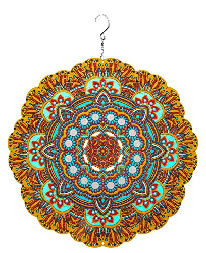 Hanging Wind Spinner 19 Guage 3D Metal 12 Inch for Garden Patio Outdoor Indoor Lawn Decoration Ornaments Gifts with Swivel Hooks Hand Painted Gift Weather Resistant Lucky Flower Gold Wind Spinners
