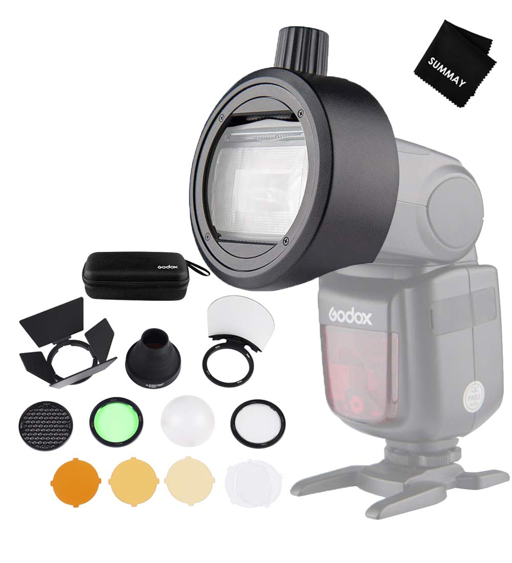 Godox AK-R1 Round Head Accessories with S-R1 Adapter Compatible with Godox V860II,V850II,TT685, TT600 Series Camera Flash and Canon,Nikon,Sony,etc Camera Flash