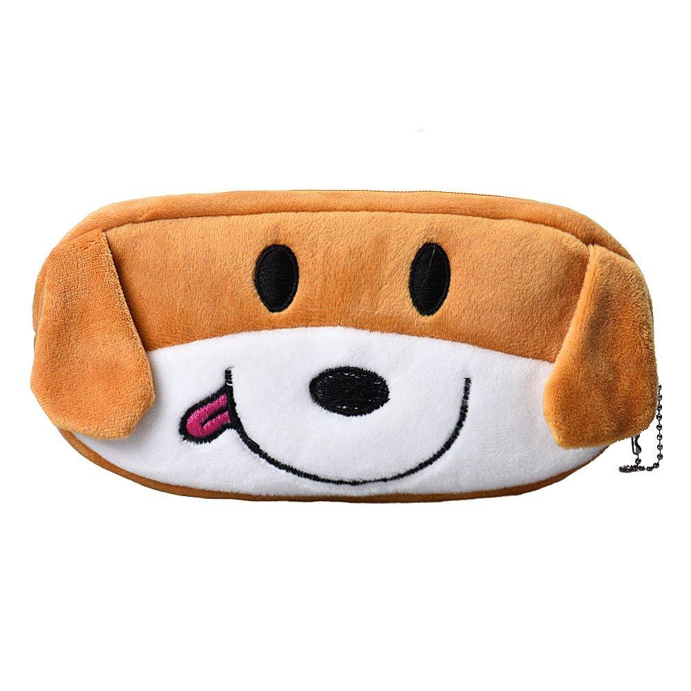 KFSO Pencil Bag,Plush Panda Dog Frog Watermelon Zipper Pen Bag Coin Bag Purse Wallet Pencil Case (Dog)