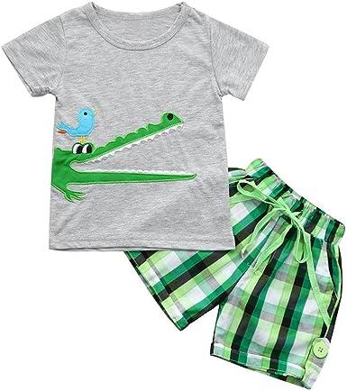 Miss Bei Toddler Boy Clothes Sets T-Shirt/&Shorts 2 Packs Kids Summer Cotton Outfits Shirt Short Sets 2-7T