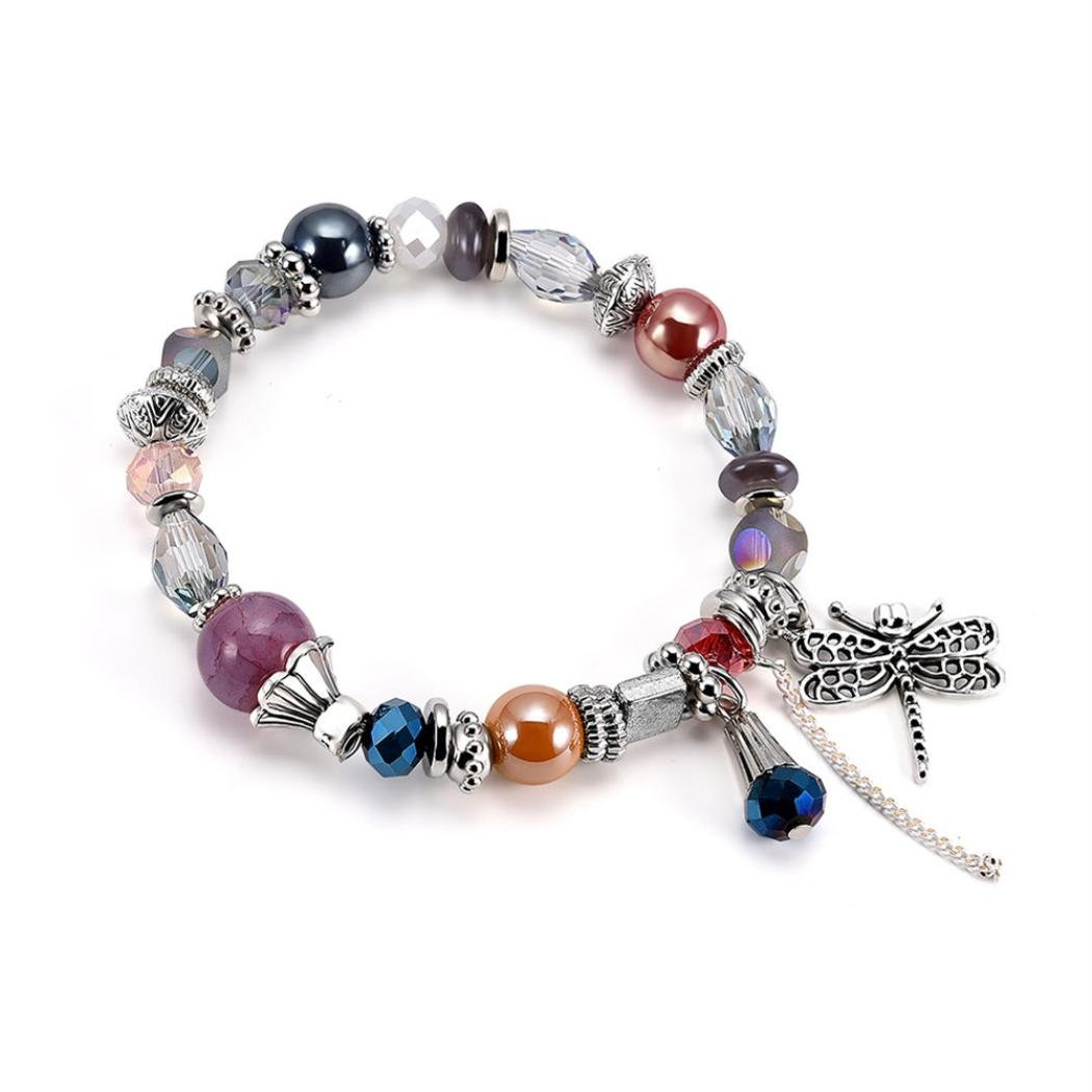 Stheanoo Fashion Bracelets Beaded Charm Beautifully Bracelet Dragonfly Pendant Bangle Women's Jewelry