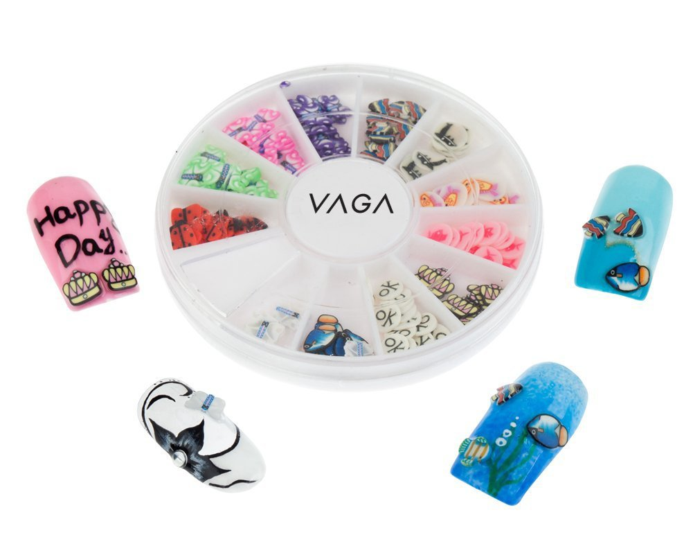 Amazing Value Best Quality Manicure 3D Nail Art Decorations Wheel With Fimo Slices / Decal Pieces In 12 Different Shapes And Many Colours By VAGA®