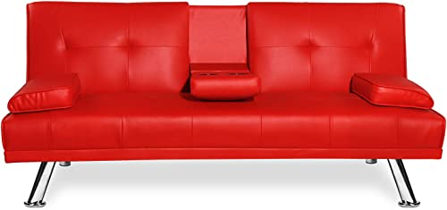 LinkRomat Modern Faux Leather Convertible Folding Futon Sofa Bed Recliner Couch w Metal Legs, 2 Cup Holders, Armrest for Living Room, Home Furniture Red
