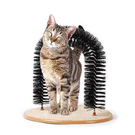 SungHye Arco de Gato con cerdas de plástico para masajeador de Gatos, rascador Interactivo con