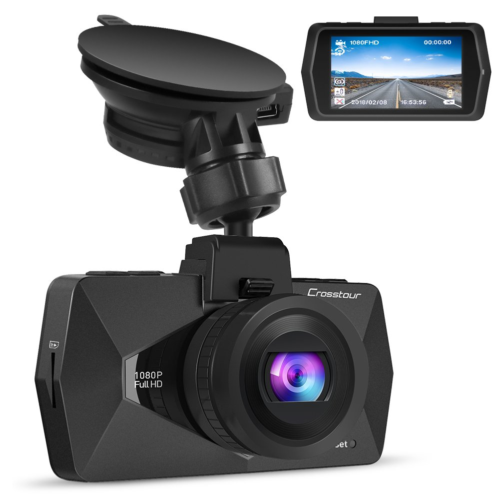 Crosstour Mini In Car Dash Cam HDR Car Camera 1080P FHD Camera Video Recorder for Cars 170° Wide Angle HDR 2.7' LCD Motion Detection Loop Recording G-sensor CR500