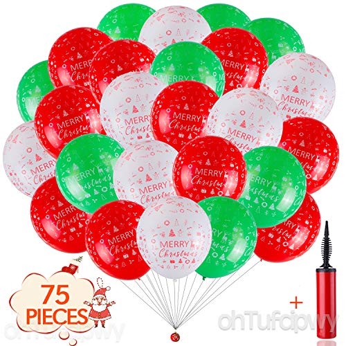 Christmas Balloons - 75 Pieces 12 inch Happy New Year Balloons Kit, Red/Green/White Latex Balloons, Theme Party Balloons for Christmas, Happy New Year Eve Party Decorations (And Christmas White Green Theme)