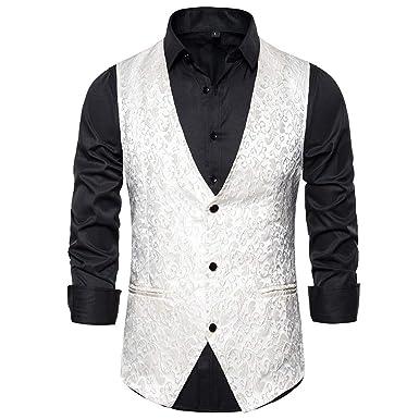 LHWY Camisa de Hombre Chaleco de Traje Slim Fit Business ...